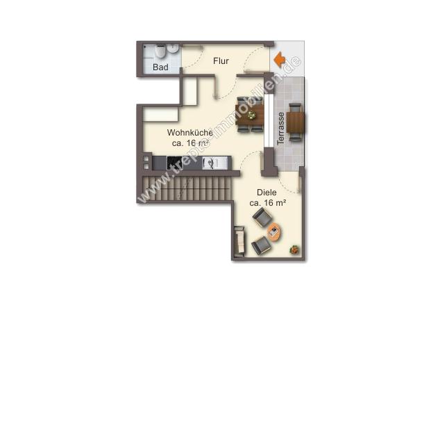 Grundriss Erdgeschoss -Maisonettewohnung