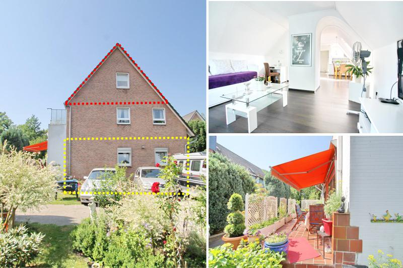 Schnäppchen!!!3 Zimmer Terrassenwohnung + 2 Zimmer Dachgeschosswohnung zum Preis von Einer, plus Gartenoase !!!