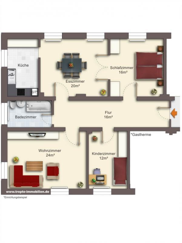 Grundriss Obergeschoss Wohnung 7