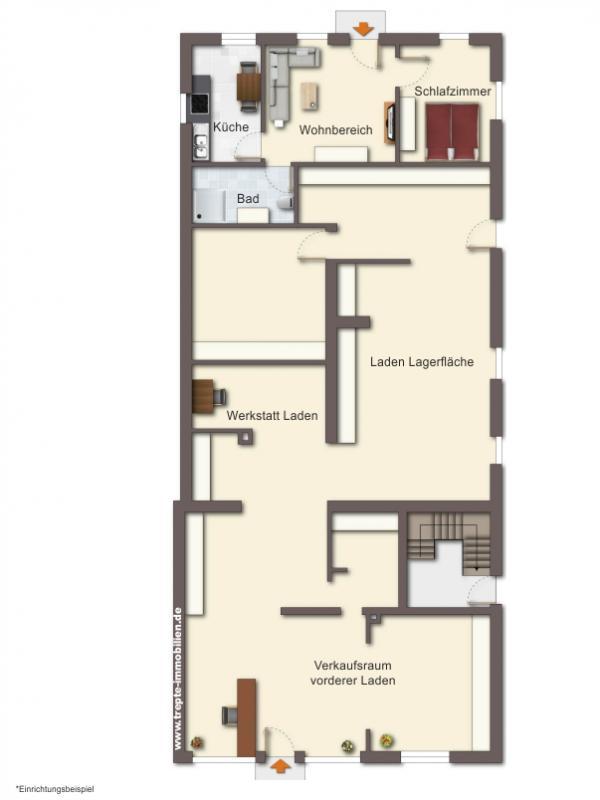 Grundriss Laden und Wohnung